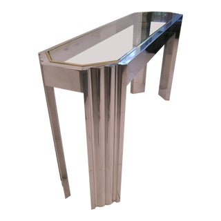 1970s Modernist Willy Rizzo Aluminum Console Table For Sale