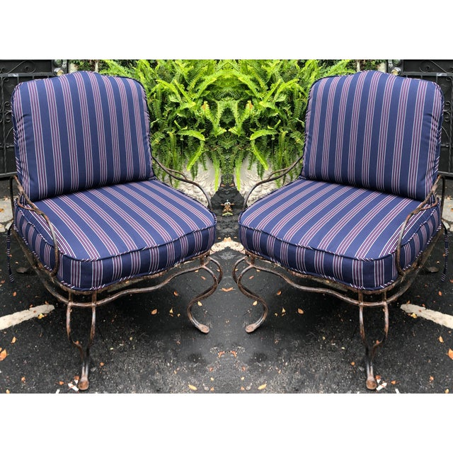Rose Tarlow Wrought Iron Outdoor Lounge Chairs - a Pair For Sale - Image 10 of 10