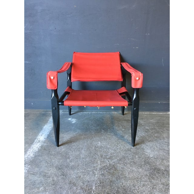 1980's Red Safari Chair For Sale In New York - Image 6 of 11