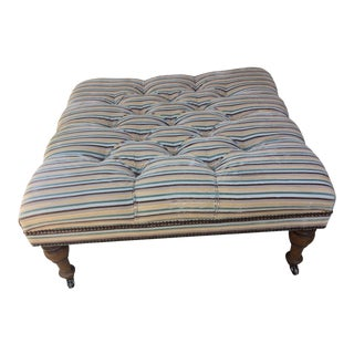 Vintage Striped Tufted Ottoman For Sale