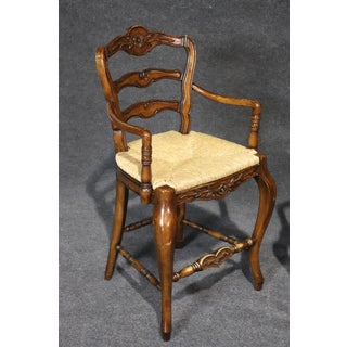 Country French Style Walnut Bar Stools- A Pair Preview