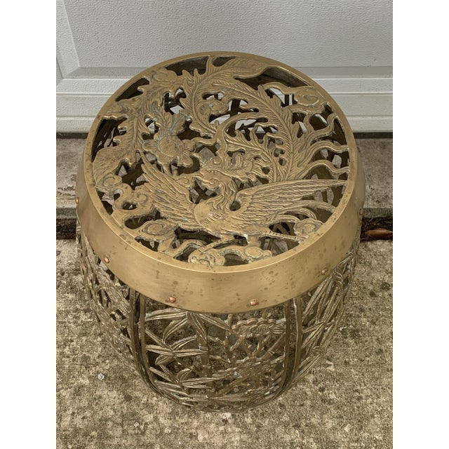 Brass Vintage Brass Faux Bamboo and Fretwork Design Garden Stool For Sale - Image 8 of 13