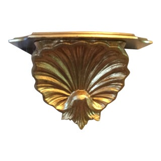 Italian Mid-Century Gold Florentine Petite Wall Shelf For Sale