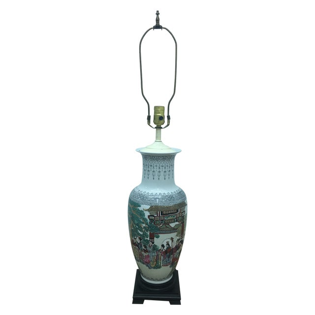 White Ornate Asian Motif Accent Lamp - Image 1 of 8