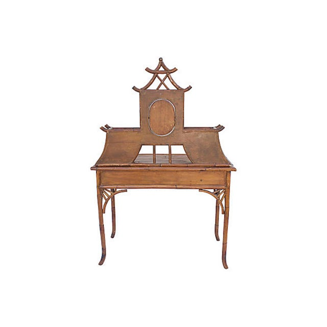 Brown Chinoiserie Rattan Vanity For Sale - Image 8 of 9