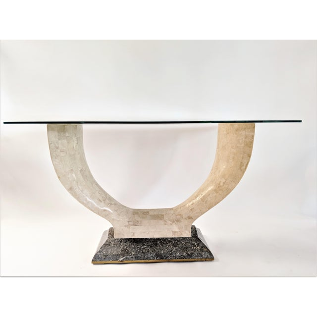 Glass 1970s Mid-Century Modern Maitland Smith Tessellated Stone Console or Center Table For Sale - Image 7 of 13