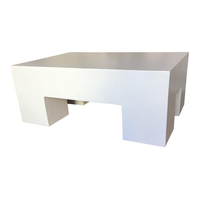 Modern White Plaster Rectangular Coffee Table For Sale