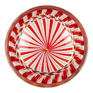 Fratelli Toso Murano Vintage Red White Ribbons Italian Art Glass Decorative Bowl Dish