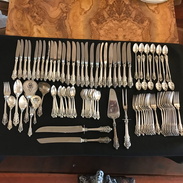Wallace Sterling Silver Grand Baroque 93 Pc Flatware For Sale - Image 11 of 11