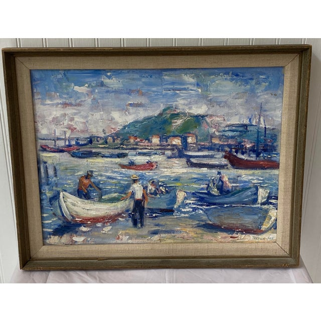 """Midcentury French oil on canvas of """"Saint-Tropez, France"""" in 1962. Signed by the Artist Teeter. Beautiful painting of..."""