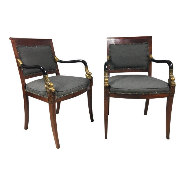 Neoclassical Style Arm Chairs - A Pair - Image 1 of 4