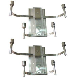Modernist Nickeled Bronze and Glass Sconces - a Pair For Sale