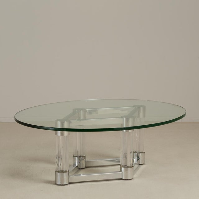 Chunky Lucite and Aluminium Coffee Table 1970s For Sale - Image 6 of 6