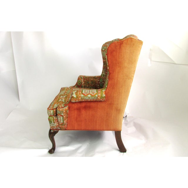 Velvet & Print Wingback Chair - Image 6 of 9