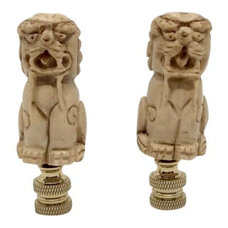 Early 21st Century Vintage Bone Foo Dog Finials- A Pair For Sale