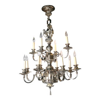Caldwell Silver Plated Twelve-Light Chandelier For Sale