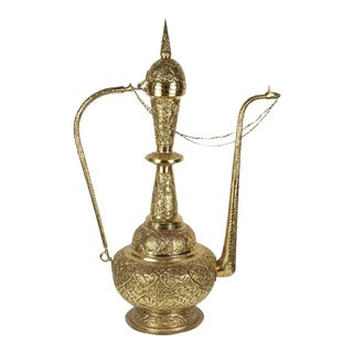 Oversized Tall Moorish Brass Middle Eastern Ewer Lamp For Sale