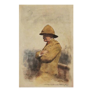 1901 Safari Style Original Lithographic Portrait of Major General Wavell by Mortimer Menpes For Sale