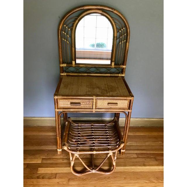 Vintage Bamboo & Rattan Two-Piece Vanity Set W/ Mirror & Stool - Image 4 of 8