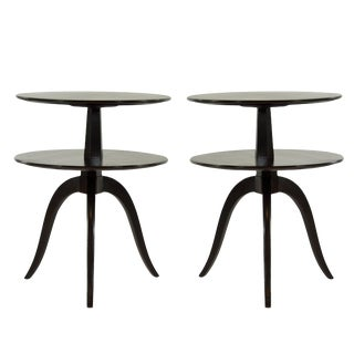 Paul Frankl for Brown Saltman Walnut Tiered Side Tables - a Pair For Sale