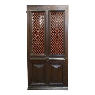 Mid 19th Century French Door with Iron Lattice, Circa 1860 For Sale