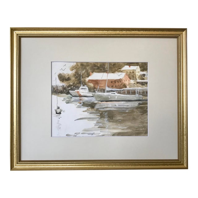 Vintage American Watercolor Boats Long Island New York by Harry Barton For Sale