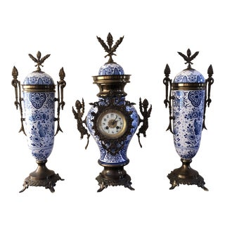 Late 19th Century French Blue and White Porcelain Brass Mantel Clock Set - Set of 3 For Sale