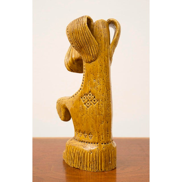 Ceramic Dog and Horse by Aldo Londi in Rare Mustard Glaze for Bitossi, Italy, 1960s For Sale - Image 9 of 13