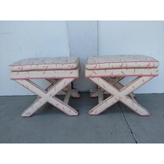 "Upholstered ""X"" Benches, Mid-Century - Pair Preview"