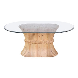 McGuire Mid-Century Bamboo Pedestal Dining Table For Sale