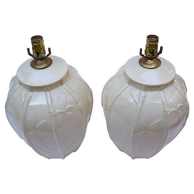 White Ceramic Bamboo Design Lamps - A Pair - Image 2 of 6