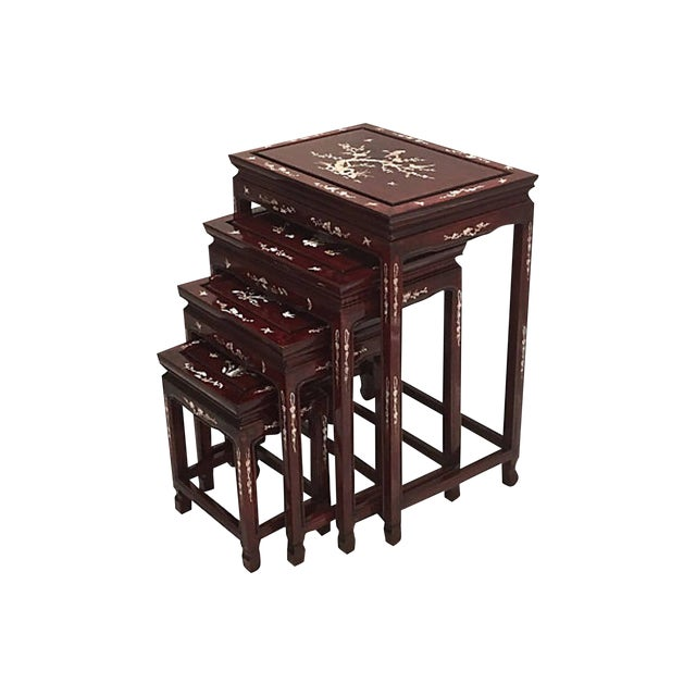 Chinese Rosewood & Abalone Nesting Tables - Set of 4 For Sale