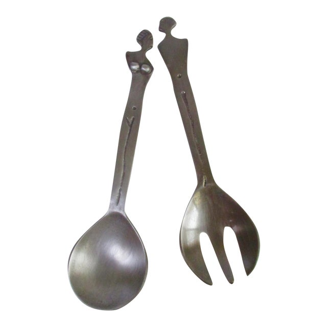 Modernist Sculptural Abstract Nude Figural Serving Pieces Spoon and Fork For Sale