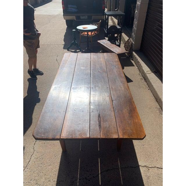 Rustic Custom Built Barnwood PlankTop Dining Table For Sale In Denver - Image 6 of 13