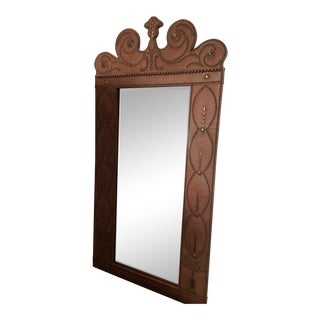 Large 7' Tall Lane Furniture Nail Head Trim Leather Wall Mirror For Sale
