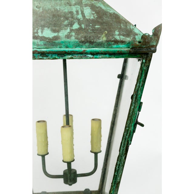 Green Large English Green Patina Lantern For Sale - Image 8 of 9