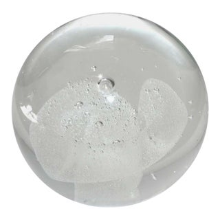 Vintage Murano Glass Paper Weight With White Swirl Paperweight For Sale