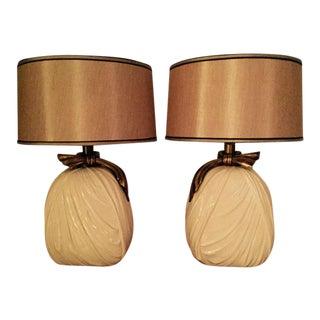 Vintage E.F. Chapman Modern White Ceramic Drape Lamps - A Pair