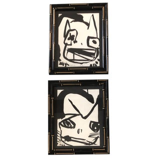 Gallery Wall Collection 2 Original Vintage Robert Cooke Abstract Cat Paintings1970's For Sale