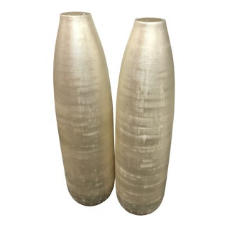 Glass Etched Tall Vases - A Pair For Sale