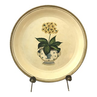 Yellow Flower Painted Metal Tray For Sale