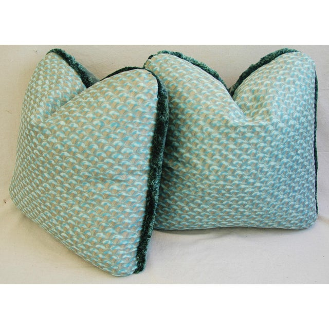 Blue Designer Italian Mariano Fortuny Papiro Feather/Down Pillows - a Pair For Sale - Image 8 of 11