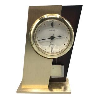 Vintage Mid Century Modern Style Seikosha Brass and Walnut Pendulum Mantel Clock For Sale