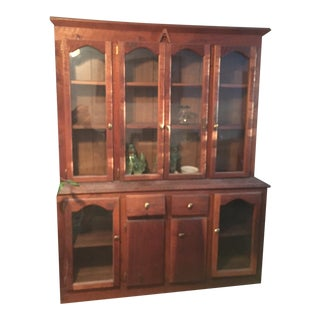 Vintage Custom Made Cherry China Cabinet For Sale