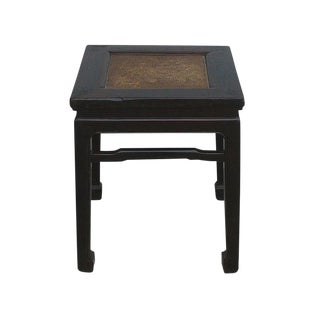 Vintage Chinese Rattan Square Claw Legs Table Ottoman For Sale