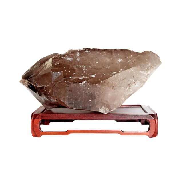 Large Smoky Quartz Crystal and Stand For Sale
