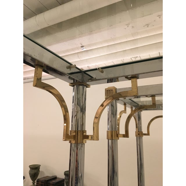 Brass Pair of Brass and Chrome Etageres For Sale - Image 7 of 11