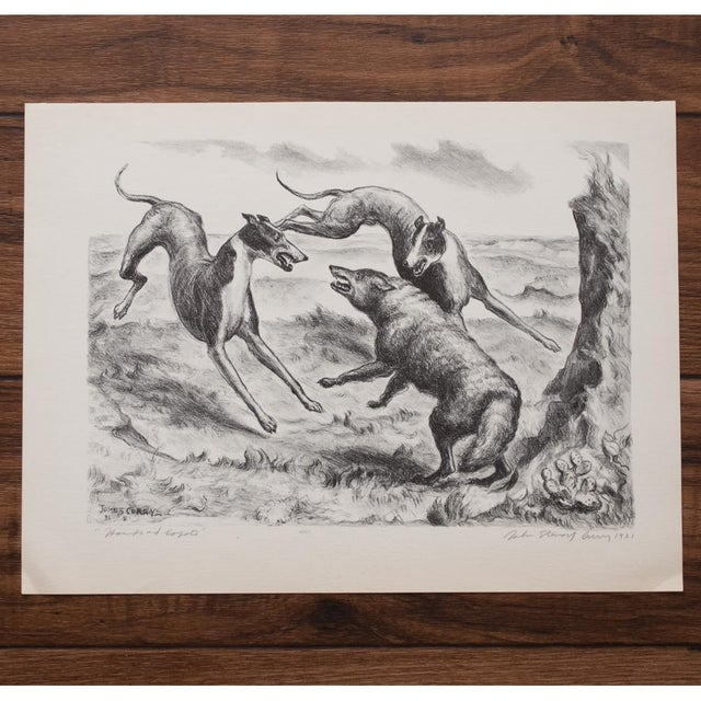 "Paper 1939 John Steuart Curry, Original Period ""Hounds and Coyote"" Photogravure For Sale - Image 7 of 9"