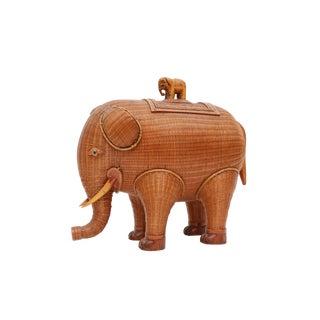 Wicker Elephant Jewelry Box For Sale