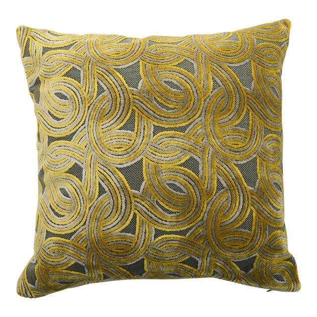 FirmaMenta Italian Damask Green & Yellow Velvet Pillow - Image 1 of 6
